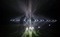 Deeltjesprojectie en muziekprestaties tijdens Sonarfestival in Barcelona