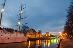 Deenrivier in Klaipeda (Litouwen) Stock Foto