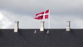Deense de vlagvliegen van de Staat in de wind op het oude dak stock videobeelden