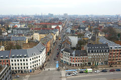 Deense die stad Frederiksberg hierboven wordt gezien van Stock Foto