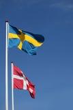 Deense en Zweedse vlag samen Royalty-vrije Stock Fotografie