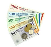 Deense kronen (DKK), muntstukken en bankbiljetten. Stock Afbeelding