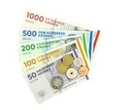 Deense kronen (DKK), muntstukken en bankbiljetten Royalty-vrije Stock Foto's