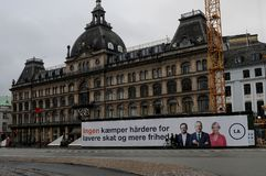 Deense liberale alianceverkiezing baner in hart van Kopenhagen royalty-vrije stock fotografie