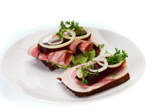 Deense open sandwiches Stock Foto