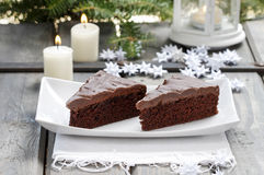 Deense traditionele Kerstmis. Chocoladecake Royalty-vrije Stock Foto's