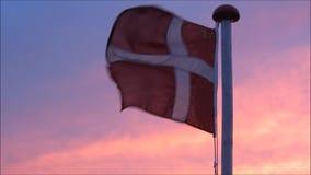 Deense Vlag, Dannebrog van Denemarken bij zonsondergang stock video