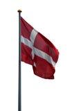 Deense vlag die op wit wordt geïsoleerda Royalty-vrije Stock Foto's