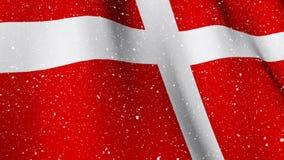 Deense vlag die tijdens sneeuwval golven stock footage