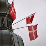 Deense vlaggen Stock Afbeeldingen