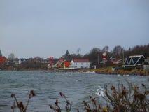 Deense Vlaggen die in de winterwind vliegen Royalty-vrije Stock Afbeelding