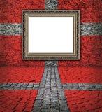 Deense vlagstijl. Elegant frame op de rode muur Stock Afbeeldingen