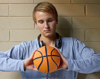 Deep in basketball thoughts Stock Photography