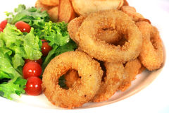 Deep batter fried calamari rings. Deep batter fried squid rings calamari isolated with white background royalty free stock photography