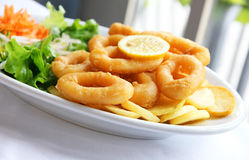 Deep batter fried squid rings. Calamari with green salad on white plate Stock Photo