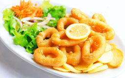 Deep batter fried squid rings Stock Images