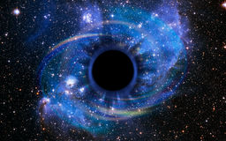Deep Black Hole, Like an Eye in the Sky. Stars are collapsing in a deep black hole, attracted by the huge gravitational field. The black hole looks like an eye royalty free stock images
