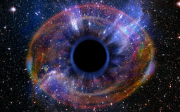 Deep Black Hole, Like an Eye in the Sky. Stars are collapsing in a deep black hole, attracted by the huge gravitational field. The black hole looks like an eye stock image