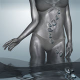 Deep Blue. Silver female body on the deep blue background Stock Images