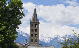 Deep blue Alpes. Aosta - the valley among the mountains Royalty Free Stock Images