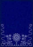 Deep blue background with elements of embroidery Royalty Free Stock Photography