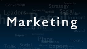 Deep blue background with subject words, which deal with marketing. The bold word is situated in the centre of royalty free illustration
