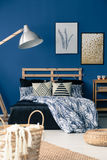 Bedroom inspired by mediterranean style. Deep blue bedroom decor inspired by mediterranean style Stock Photos