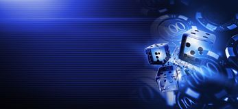 Deep Blue Casino Craps Dices. Banner Background 3D Rendered Illustration with Copy Space. Casino Gambling Backdrop Royalty Free Stock Photo