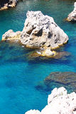 Deep blue clear water between rocks. Deep blue clear water between big rocks, near the sea Royalty Free Stock Photos