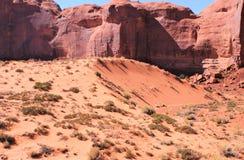 Iron oxide cross bedded sandstone cliffs overlook crescent dune below stock images
