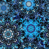 Deep blue colored seamless pattern with eastern floral orament. Floral oriental design in aztec, turkish, pakistan. Indian, chinese, japanese style. Wrapping Royalty Free Stock Images