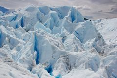 Structures on ice glacier in Perito Moreno stock image