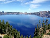 Deep Blue Crater Lake. A view of Crater Lake during the summertime as seen from the southwest side of the rim trail Royalty Free Stock Photo