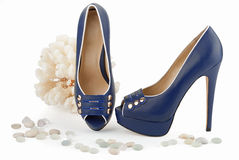 Deep-blue cruising female shoes Royalty Free Stock Images