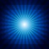 Deep blue dark geometric background with sunburst Stock Image