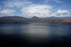 Deep Blue Desert Lake Stock Photo