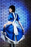 Deep blue dress royalty free stock photography
