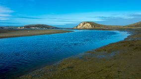 Deep blue estuary by the Stereo Trail in Point Reyes. View of an estuary deep blue from the Stereo Trail, Point Reyes National Seashore, Marin County, California royalty free stock photos