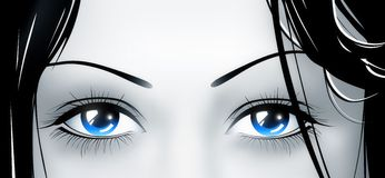 Deep blue eyes. From beautiful young girl Royalty Free Stock Photo