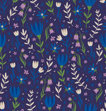 Deep blue floral pattern Stock Photography