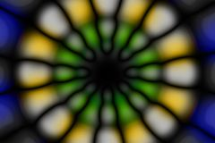 Multicolored radial circle dark pattern. Deep blue, green, yellow, white and black radial circle pattern royalty free stock images