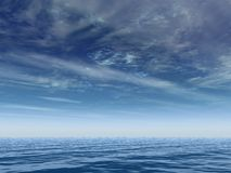 Deep blue horizon. Tropical sky and ocean royalty free stock photos