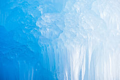 Deep Blue Icicles. Deep blue Swiss Mountains icicles formation stock photo