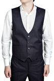 Deep blue masculine plaid waistcoat suit, isolated over white ba Royalty Free Stock Photo