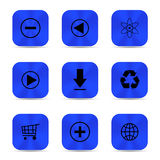 Deep blue metal buttons with icons Royalty Free Stock Photography
