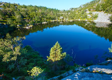 Deep blue mountain lake on Norway Royalty Free Stock Photography
