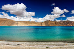 Deep Blue Pangong Lake and Mountain-Ladakh Stock Photography