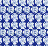Deep blue rural seamless pattern. Fabric texture with decorative flowers Stock Images