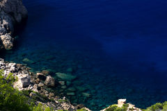 Deep blue sea and rocks Stock Image