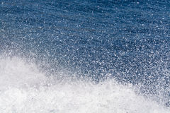 Deep blue sea surface with white waves foam, background, copy sp Royalty Free Stock Images